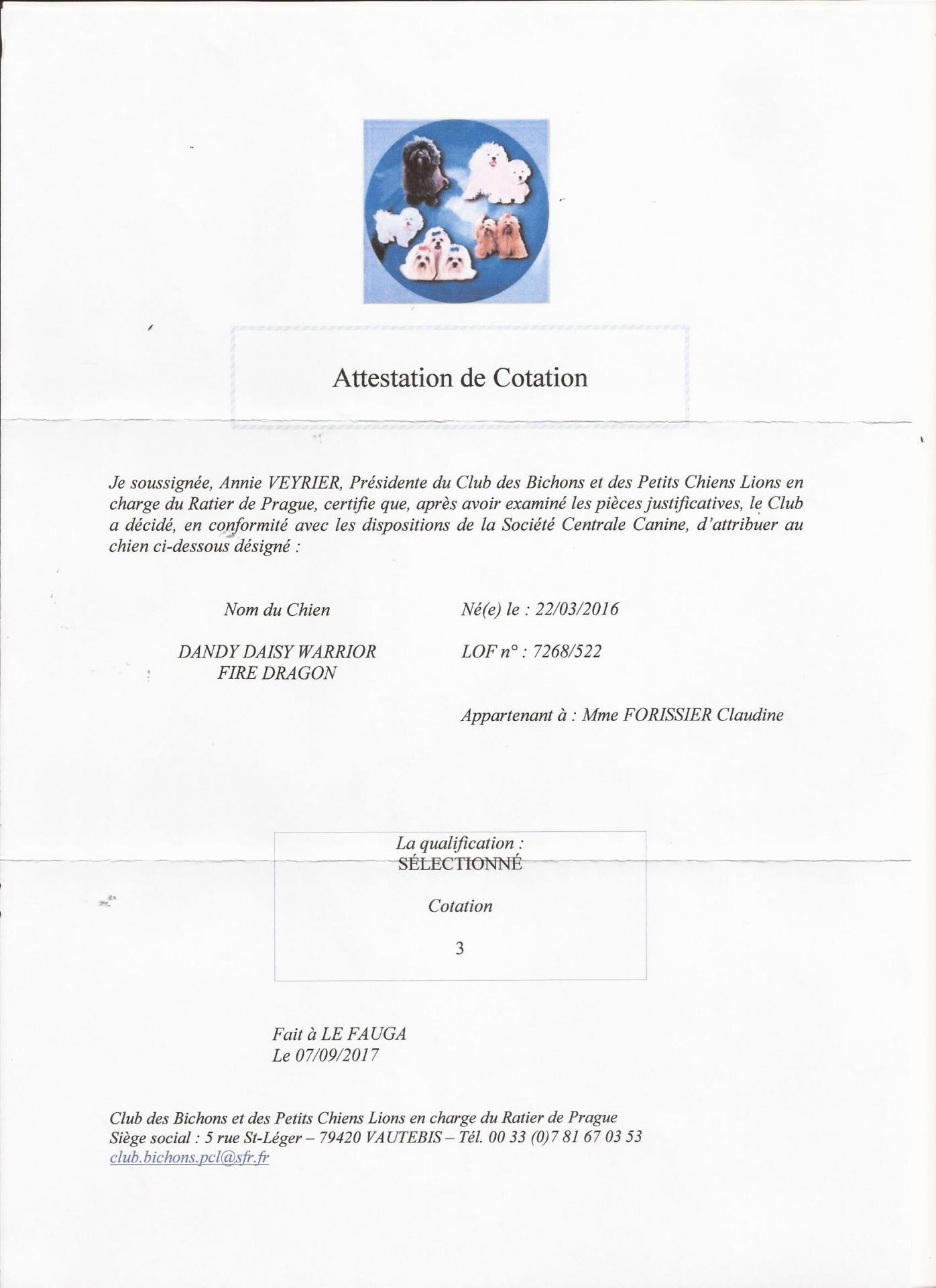Attestation cotation